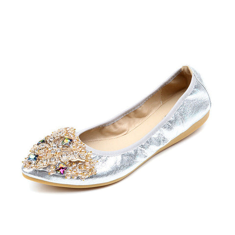Soft Bottom Genuine Leather Women Flats Luxury Rhinestone Moccasins Women Flat Shoes Ladies Loafers Plus Size 41 42 SNE-695