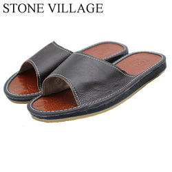 Mens Casual Leather Non Slip Basic House Slippers