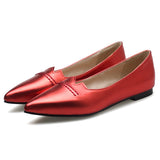 2017 Spring Fashion Women Shoes Pointed Toe Solid Color Bottom Gold and Silver Flats Shoes Slip-On Flat Shoes Woman Red Loafer