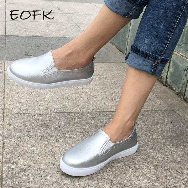 EOFK Spring High Quality Women Leather Loafers Casual Flats Shoes Woman Slip On Female Shoes Moccasins slipony zapatos mujer