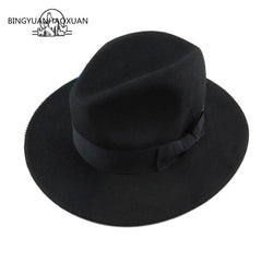 Womens Stylish Black Fedora Floppy Hat