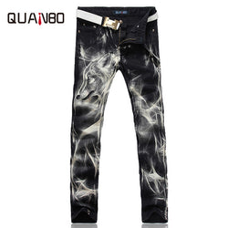 e233dc4d1e366 2017 New fashion Men s wolf printed jeans men slim straight Black stretch  jeans high quality designer