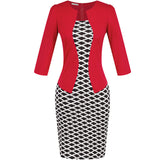 Womens Patchwork Tunic One Piece Sexy Office Bodycon Dress