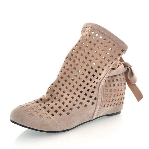 2016 Women Summer Boots Fashion Cutout Fretwork Hidden Low Wedges Spring Autumn Shoes Hot Sale Short Ankle Boots Women
