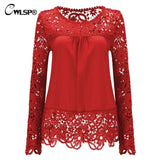 Womens Chiffon Hollow Out Crochet Long Sleeve Shirt