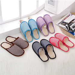 Winter Men Women Indoor Floor Slippers striped Warm Soft Cotton Shoes Lovers Couple Home House Slippers GG888