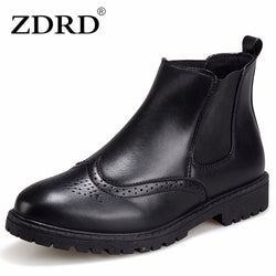 Mens Trendy Leather Slip On Black Boots