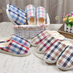 Mens Cool Plaid Pattern Thick House Slippers