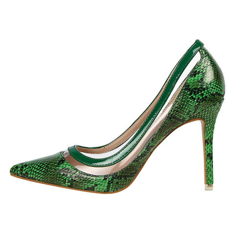 New 2017 Serpentine Patchwork Elegant Pumps High Heels Sexy Transparent Slip On Shoes Woman Pointed toe dress Pumps