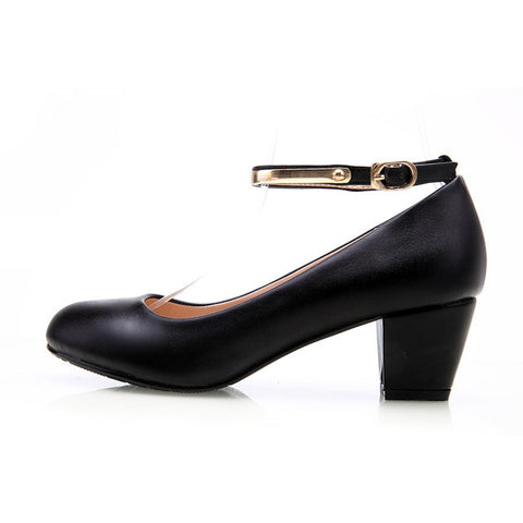 Black Women 5cm Pump Shoes Office Career Pointed Toe Square Heel Full Grain Leather Women Office lady Shoes