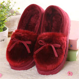 COVOYYAR 2017 Autumn Winter Women Ballet Flats Lovely Bow Warm Fur Comfort Cotton Shoes Woman Loafers Slip On Size 40 WFS252