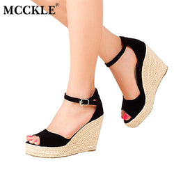 cd8b616b56d5 MCCKLE Fashion Superior Quality Comfortable Bohemian Wedges Women Sandals  For Ladies Shoes High Platform Open Toe