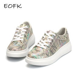 EOFK New Designer Women High Quality Camouflage Flat Shoes Comfortable elegant Flats Shoes Genuine Leather Shoes Woman