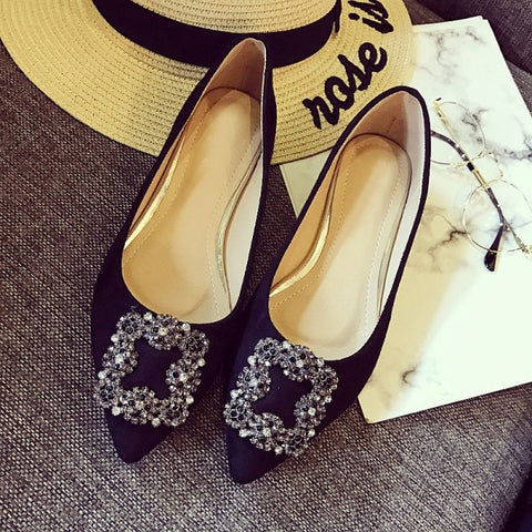 83fcdd07e 2017 Sexy Red Pointed Toe Women Flats Shoes Spring Autumn Flock Crystal  Ladies Single Shoes Woman