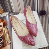 Spring Autumn Women Ballet Flats Pointed Toe Flats Shoes Sequined Cloth Ladies Shoes Flats Tendon Slip-on Low Heel Shoe TR 31-44