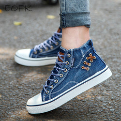 EOFK Women High Top Canvas Shoes 2017 New Fashion Ankle Lace Up Canvas Boots Fashion tenis Ankle Flat Canvas Shoes Woman