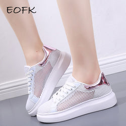 EOFK 2017 New Summer Zapato Women Flat Breathable Air Mesh Zapatillas Shoes Woman Lace pattern Casual Shoes