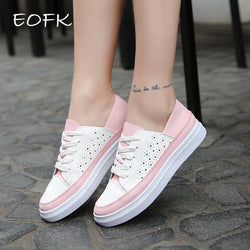 EOFK New Summer Women Flat Breathable Mesh leather Shoes woman Lace pattern Casual Shoes trainers Zapato Zapatillas