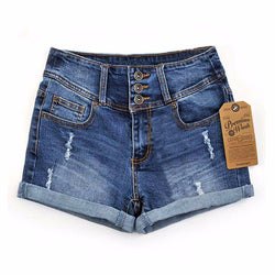 1592eea15 2017 Summer New Korean Women Thin Beaded Three-dimensional Hole High Waist  Shorts Denim Shorts