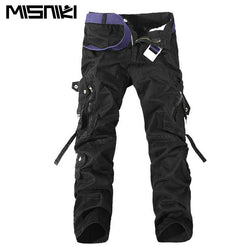 MISNIKI 2017 Top Fashion Multi-Pocket Solid Mens Cargo Pants High Quality Men Trousers Size 28-42