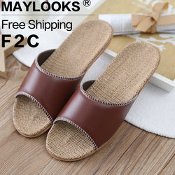 Mens Casual Comfy Leather Hemp House Slippers