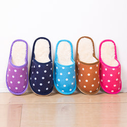 Mens Modern Polka Dot Warm Soft House Slippers