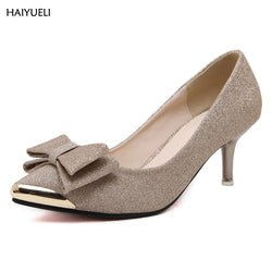 Women's high heel shoes Metal sequins butterfly Knot Ladies shoes Low-heeled wedding sexy Pointed toe high heels pumps