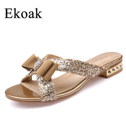 Ekoak New 2017 Fashion Women Sandals Ladies Sexy Crystal Bling Bowtie Party Dress Shoes Woman Summer Beach Shoes Girls Slides