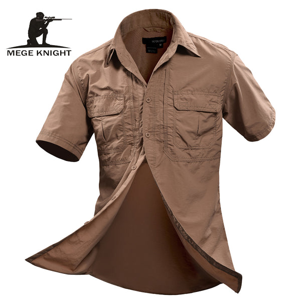 MEGE Summer Men Shirt Military Men Short Sleeve Shirt Casual Shirt Mens Brand Social Clothing Chemise Homme Camisa Masculina 2XL