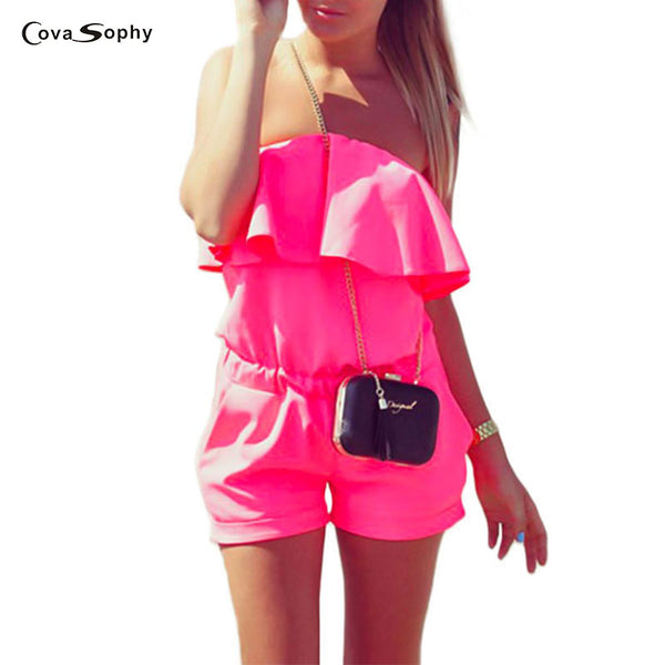 Cova Sophy Women Chiffon Jumpsuit 2017 Summer Fashion Casual Ruffles Strapless Rompers Bodysuit Blue White Pink