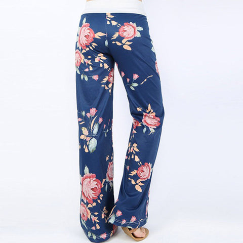 3f9e028349a Causal Women Autumn Flower Print Pants 2017 Drawstring Wide Leg Pants Loose  Straight Trousers Long Female