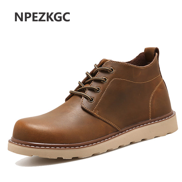 NPEZKGC Brand Hot Newest Keep Warm Men Winter Boots High Quality Leather Wear Resisting Casual Shoes Working Fahsion Men Boots