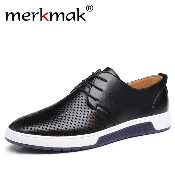 Merkmak New 2018 Men Casual Shoes Leather Summer Breathable Holes Luxury  Brand Flat Shoes for Men 04f98922c1f5