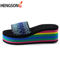 HENGSONG Women Beach Sandals Trifle Slippers Summer Fashion Rainbow Shoes Wedge Heels Sandals Slipper sapato feminino RD869381