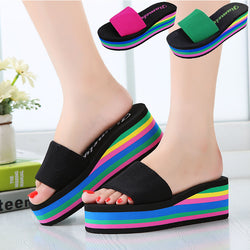 1d72bc0c1f64 Designer Wedges Slippers Women Platform Sandals Wedge Slippers Slides  Rainbow Summer Thick Heel Ladies Shoes