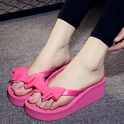 67546dfebbc High Heels Women Flip Flops Summer Sandals Platform Wedges Slippers EVA Bow  Fashion Beach Shoes Woman