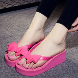 High Heels Women Flip Flops Summer Sandals Platform Wedges Slippers EVA Bow Fashion Beach Shoes Woman