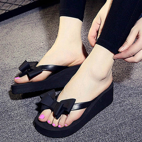 6542aeed72f High Heels Women Flip Flops Summer Sandals Platform Wedges Slippers EVA Bow Fashion  Beach Shoes Woman