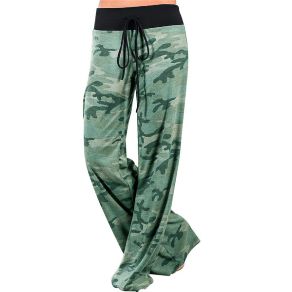 Women Green Camouflage Print Wide Leg Pants Loose Mid Waist Straight Trousers Long Female Trousers Comfortable Casual Bottoms