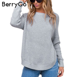 BerryGo Fashion side split knitting pullover Casual streetwear autumn winter sweater women 2017 elegant warm jumper pull femme