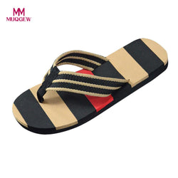 Men Fashion Sandals Summer Beach Stripe Flip Flops Shoes High Quality Sandals Male Slipper Flip-flops Male EVA Beach Sandals