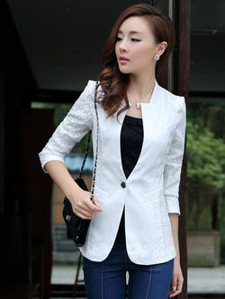 Ladies Blazers 2018 K-pop Fashion Single Button Blazer Women Suit Jacket White/Black/Pink Blaser Female  Blazer Femme