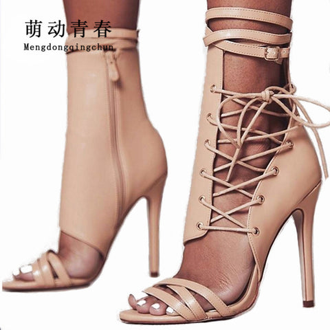 71ce42513a Fashion Women Pumps Gladiator Peep Toe Thin Heel Summer Women High Heels  Shoes Casual Lace Up ...