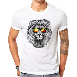 100% Cotton Hip Hop Harajuku Fashion Men 3D T-shirt Funny Print Animal Lion King Summer Cool T Shirt Street Wear Tops Tees