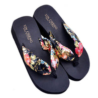 ASDS Women Bohemia Floral Beach Sandal Wedge Platform Thongs Slippers Lady Flip Flops