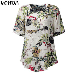 2f8ebb827c857 VONDA Pregnant Women Blouses 2018 Summer Vintage Print Blusas Shirts Short  Sleeve Roll Up Casual Tees