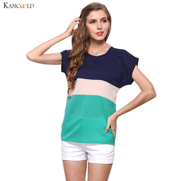 2017 Women Summer Striped Chiffon T-Shirt Short Sleeve Casual Patchwork O-Neck Tops Quick Dry Tees 60728