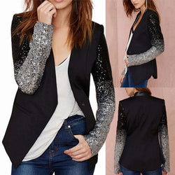 Women Fashion Silver Black Sequin Elegant Slim Work Blazers Suit Thin Jacket Coat Spring Autumn Long Sleeve Lapel