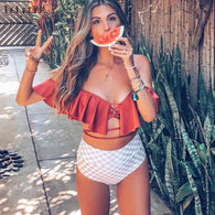 Sexy High Waist Bikini Swimwear Women Swimsuit Push Up Ruffle Bikinis Bathing Suit