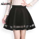 Fashion Grid Design women skirt elastic faldas ladies midi skirt  Sexy Girls mini Pleated skirts saias Korea clothes